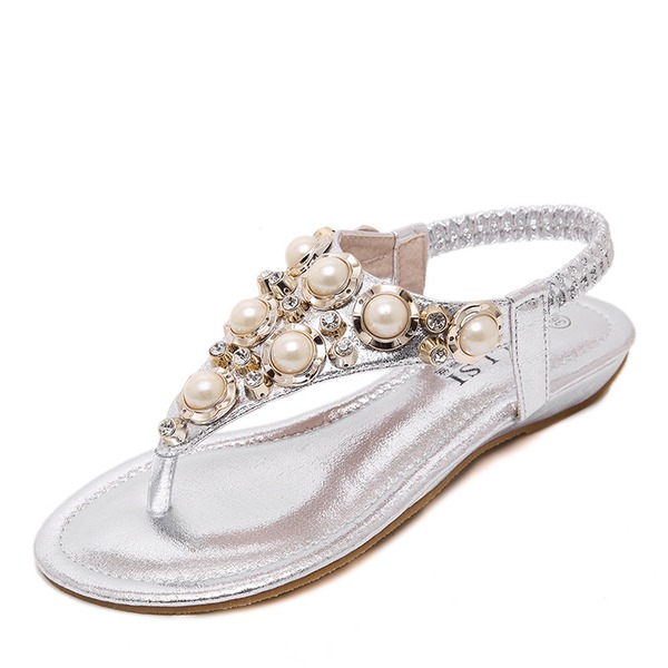 Femmes Similicuir Talon plat Chaussures plates À bout ouvert Sandales Escarpins avec Cristal Pearl
