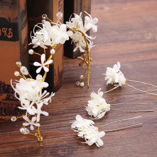 Beau Fleur en soie/Plastique Bandeaux (Lot de 4)