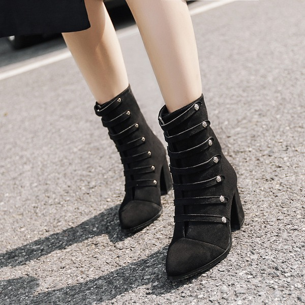 Women's Suede Chunky Heel Pumps Ankle Boots With Zipper Button shoes