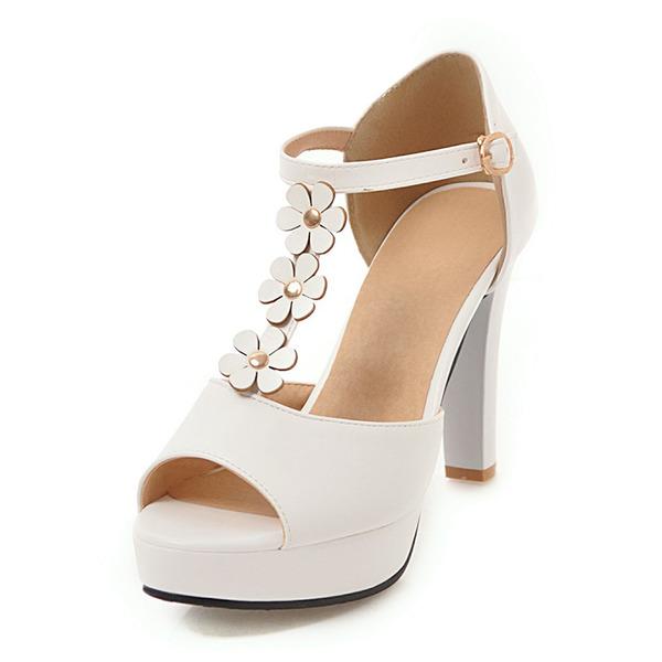 Mulheres Couro Salto robusto Sandálias Plataforma Peep toe com Fivela Flor sapatos