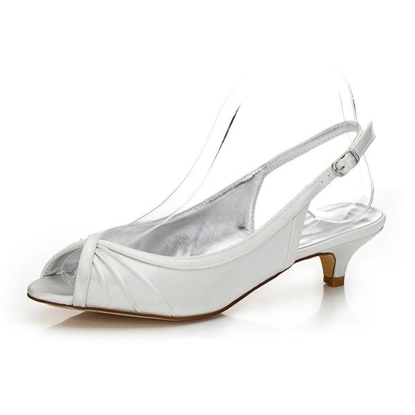 Mulheres Cetim Salto baixo Peep toe Sapatos abertos Sapatos Tingíveis