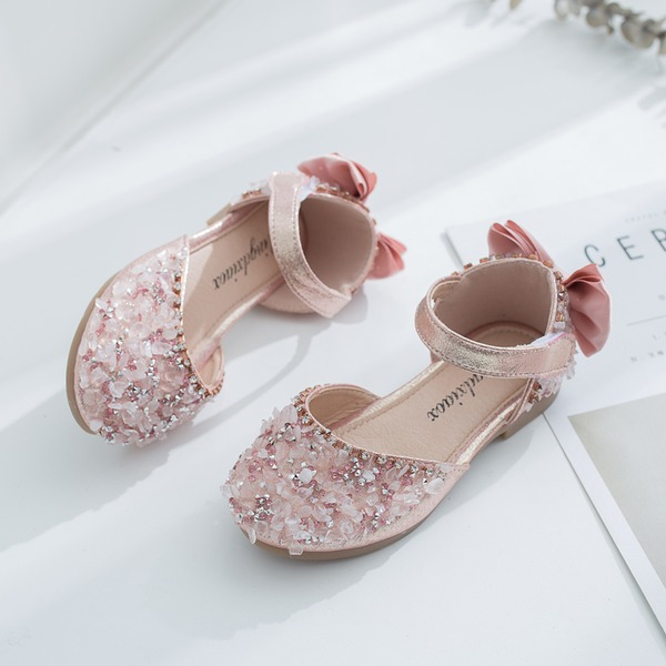 Jentas Round Toe Lukket Tå Leather flat Heel Flate sko Flower Girl Shoes med Bowknot Velcro Crystal