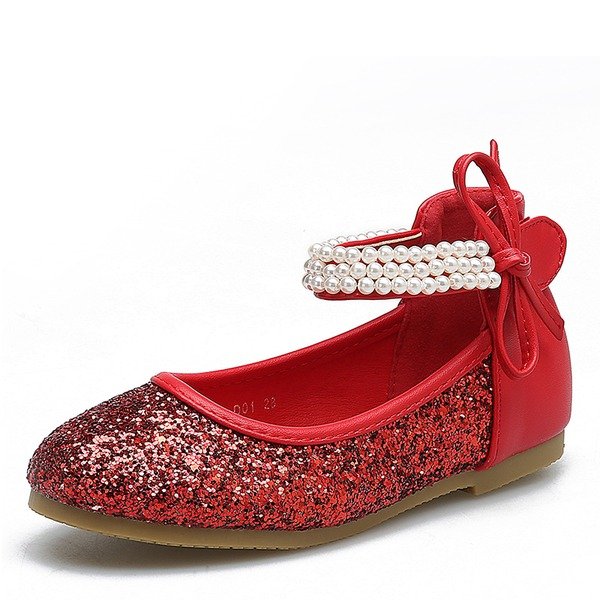 Fille de Bout fermé en tissu talon plat Chaussures plates Chaussures de fille de fleur avec Paillette Velcro