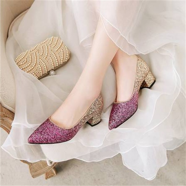 Women's Sparkling Glitter Chunky Heel Pumps With Split Joint shoes
