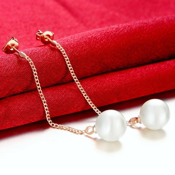 Squisito Perla rame Signore Orecchini di modo