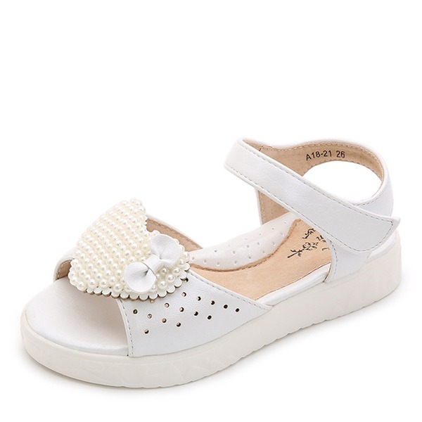 Pigens Kigge Tå patent Leather Flad Hæl sandaler Fladsko Flower Girl Shoes med Velcro Crystal