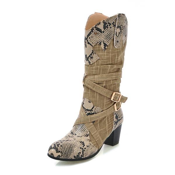 Kadın Suni deri Kalın Topuk Bot Mid-Buzağı Boots Ile Toka ayakkabı