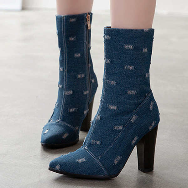 Women's Fabric Stiletto Heel Mid-Calf Boots With Zipper shoes