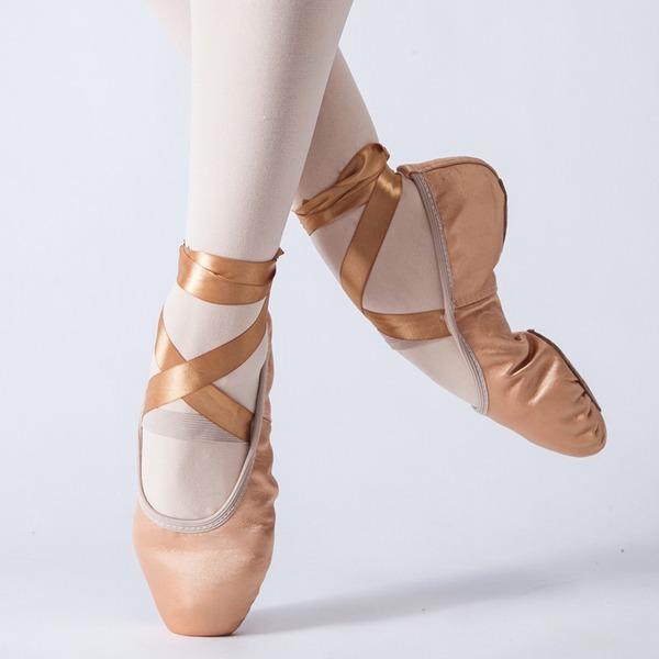 Mulheres Cetim Sem salto Balé Sapatos de dança