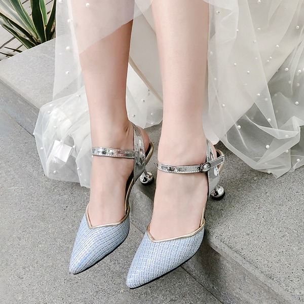Frauen Kunstleder Stöckel Absatz Sandalen Absatzschuhe Geschlossene Zehe mit Schnalle Schuhe