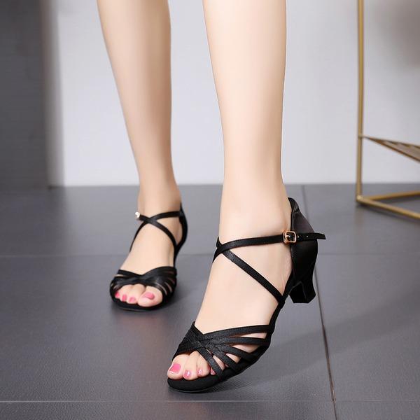 Mulheres Seda Latino com Fivela Sapatos de dança
