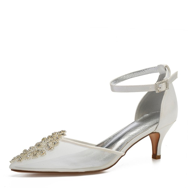 Women's Mesh Flat Heel Closed Toe Pumps With Crystal