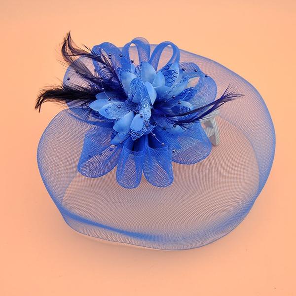 Dames Style Vintage Organza avec Feather/Fleur en soie Chapeaux de type fascinator