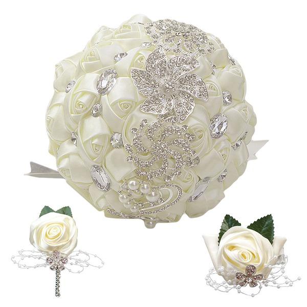 Round Satin/Imitation Pearl Bridal Bouquets (set of 3) - Wrist Corsage/Boutonniere/Bridal Bouquets