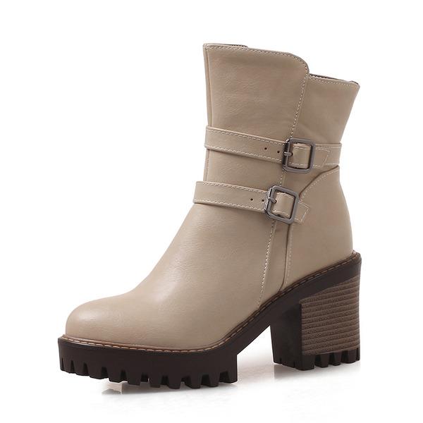 Frauen Kunstleder Stämmiger Absatz Absatzschuhe Geschlossene Zehe Stiefel Stiefel-Wadenlang mit Schnalle Schuhe