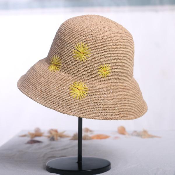Dames Mode/Élégante Raphia paille avec Une fleur Chapeau de paille
