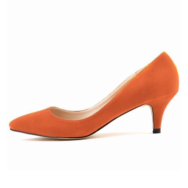 Frauen Wildleder Kätzchen Absatz Absatzschuhe Geschlossene Zehe Schuhe
