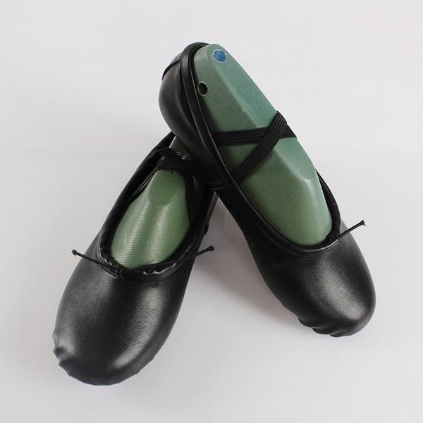 Mulheres Couro Sem salto Balé Sapatos de dança