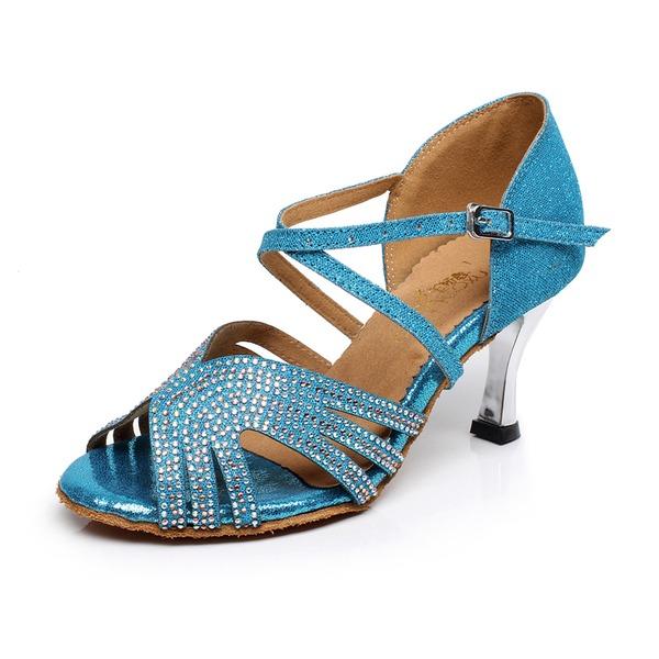Femmes Suède Talons Sandales Latin avec Strass Chaussures de danse