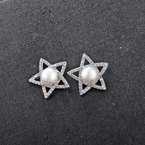 Star Shaped Zircon Copper With Zircon Women's Fashion Earrings (Sold in a single piece)