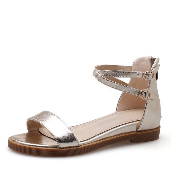 Dla kobiet Prawdziwa Skóra Obcas Koturnowy Sandały Plaskie Otwarty Nosek Buta Bez Pięty Z Klamra obuwie