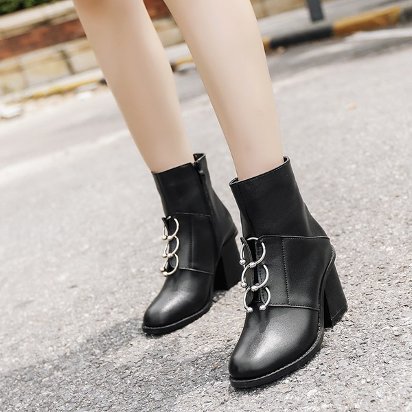 Women's PU Chunky Heel Pumps Ankle Boots With Zipper Others shoes
