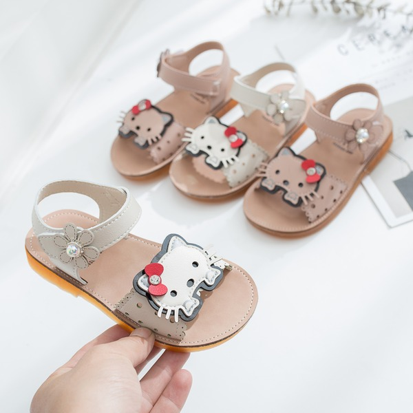 Girl's Peep Toe Slingback Leatherette Flat Heel Sandals Flats With Velcro Animal Print