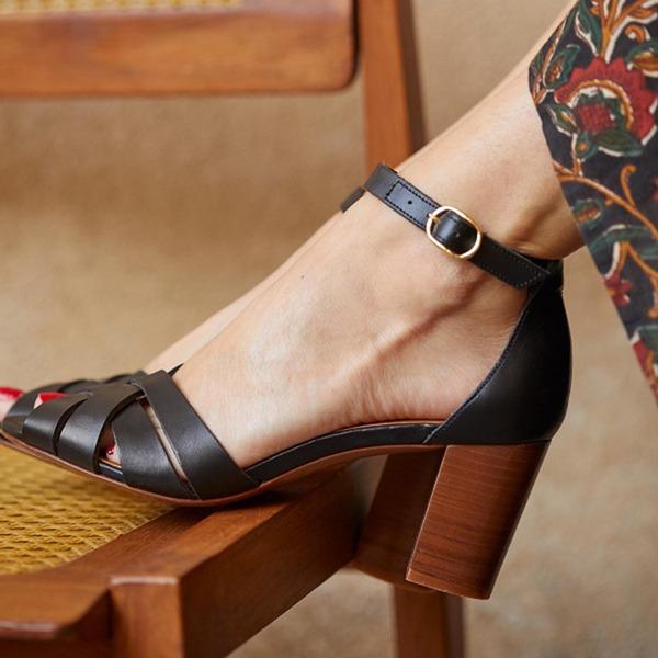 Женщины PU Устойчивый каблук Сандалии с пряжка обувь