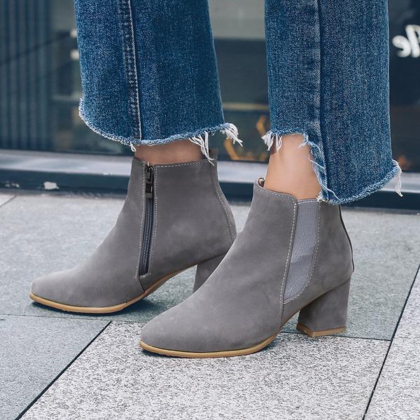 Mulheres Camurça Salto robusto Bombas Botas Bota no tornozelo com Zíper Faixa Elástica sapatos