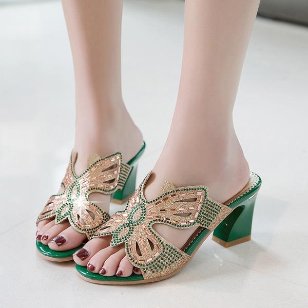 Mulheres Couro Salto robusto Sandálias com Espumante Glitter Oca-out sapatos