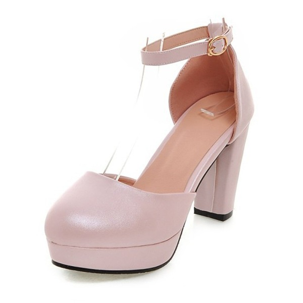 Women's Leatherette Chunky Heel Pumps Platform shoes