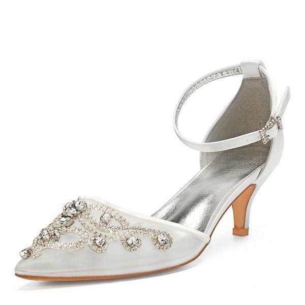 Femmes Dentelle Soie comme du satin Mesh Talon kitten Chaussures plates Sandales avec Strass Ouvertes
