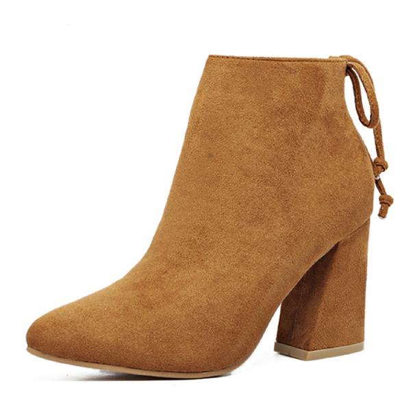 Kadın Süet Kalın Topuk Kapalı Toe Bot Ayak bileği Boots Ile Bağcıklı ayakkabı