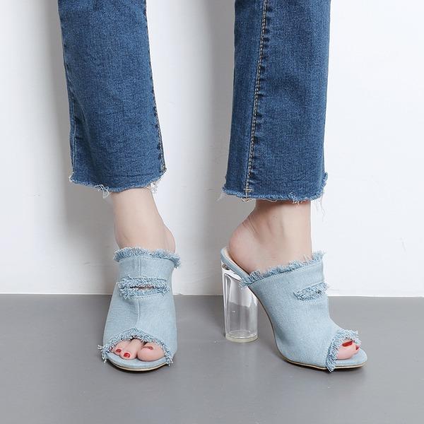 Frauen Baumwollstoff Stämmiger Absatz Sandalen Absatzschuhe Peep Toe Slingpumps Pantoffel Schuhe