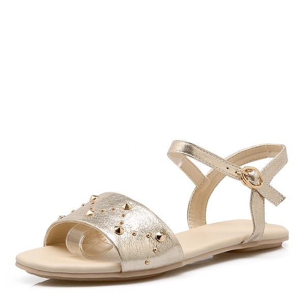 Vrouwen PU Flat Heel Sandalen Flats met Klinknagel schoenen