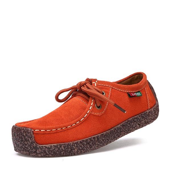 Frauen Veloursleder Flascher Absatz Flache Schuhe Geschlossene Zehe mit Zuschnüren Schuhe