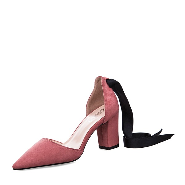 Women's Suede Chunky Heel Sandals Pumps Closed Toe shoes