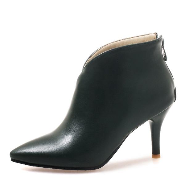 Donna Similpelle Tacco a spillo Stiletto Punta chiusa Stivali Stivali alla caviglia con Cerniera scarpe