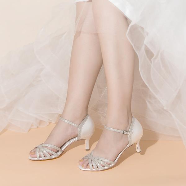 Women's Satin Sparkling Glitter Low Heel Peep Toe With Buckle