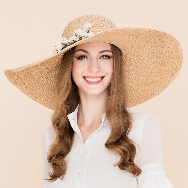 Dames Mode Rotin paille avec Fleur en soie Disquettes Chapeau/Chapeaux de plage / soleil/Kentucky Derby Des Chapeaux
