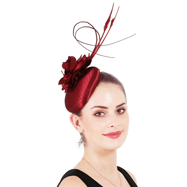 Dames Simple/Accrocheur Satiné avec Feather/Fleur en soie Chapeaux de type fascinator