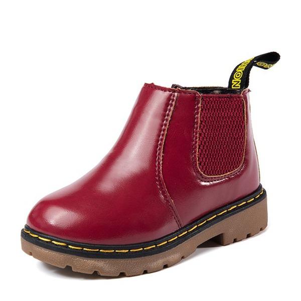 Unisexe Bout fermé Martin bottes similicuir talon plat Chaussures plates Bottes