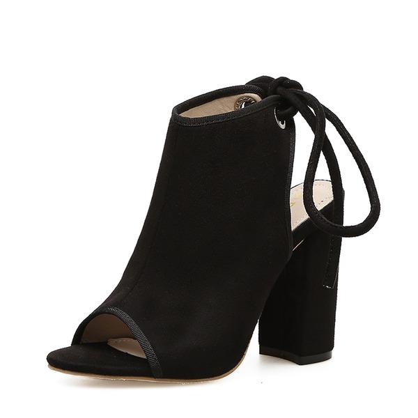 Femmes Suède Talon bottier Escarpins Bottes À bout ouvert Escarpins avec Dentelle chaussures