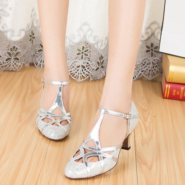 De mujer Brillo Chispeante Tacones Sandalias Sala de Baile con Tira T Zapatos de danza