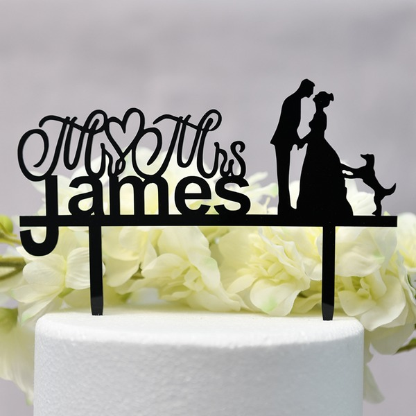 Personalized Classic Couple/Mr. & Mrs. Acrylic Cake Topper (Sold in a single piece)