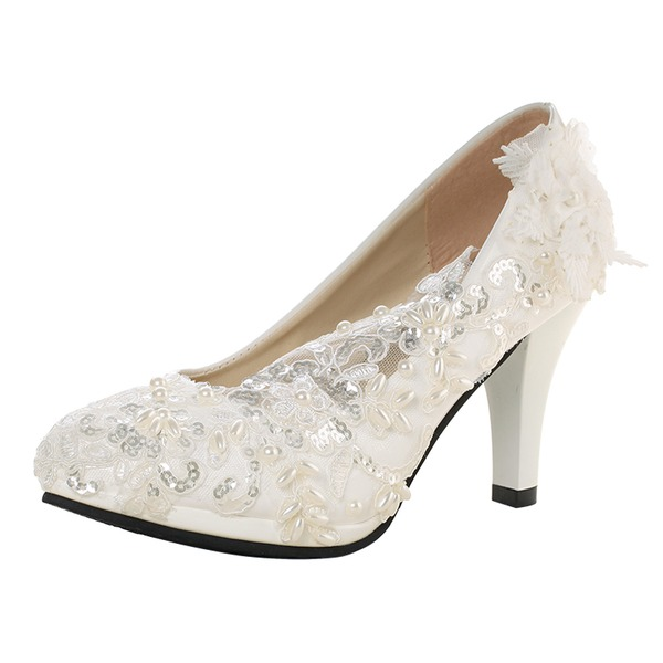 Women's Patent Leather Cone Heel Pumps With Imitation Pearl Rhinestone Stitching Lace Flower