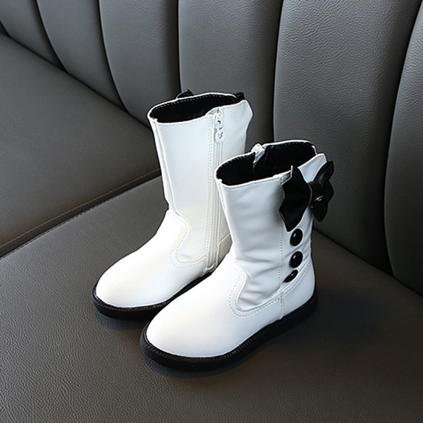Girl's Round Toe Closed Toe Leatherette Flat Heel Boots Flower Girl Shoes With Bowknot Zipper