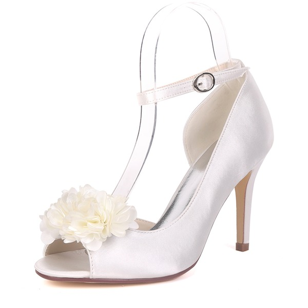 Women's Silk Like Satin Stiletto Heel Pumps With Satin Flower