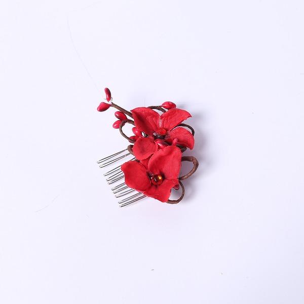 Elegante Strass/Fiore di seta Pettine & clip di capelli