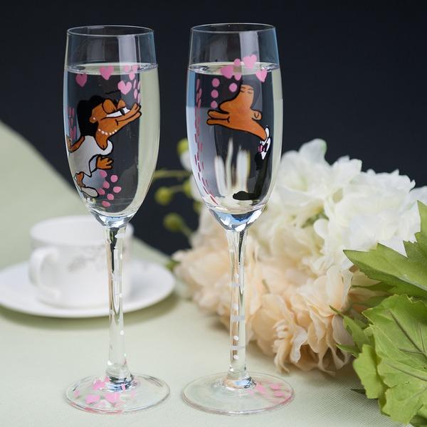 Brud og brudgom Udformning Glas Skåle Fløjter (Sæt Af 2)